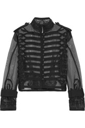 Sacai Cropped Lace And Canvas Trimmed Organza Jacket Black