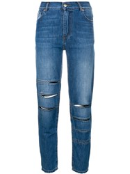 Each X Other Slim High Waisted Jeans Cotton Blue