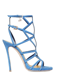Dsquared 120Mm Suede Cage Sandals Royal Blue