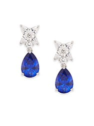Cz By Kenneth Jay Lane Flower And Pear Drop Earrings Silvertone Blue