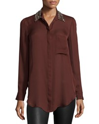 Haute Hippie Embellished Collar Long Sleeve Blouse Raisin