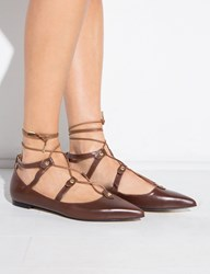 Pixie Market Brown Lace Up Pointy Flats
