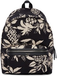 Saint Laurent Black And Off White Hibiscus City Backpack