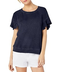 Michael Stars Ruffled Short Sleeve Sweatshirt Passport