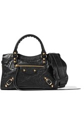 Balenciaga Classic City Mini Textured Leather Tote Bag Black