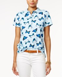 Tommy Hilfiger Short Sleeve Butterfly Printed Polo Only At Macy's Porcelain Multi