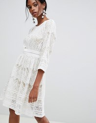 Liquorish Lace Skater Dress White