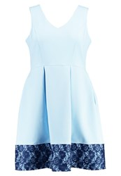 Closet Curves Summer Dress Light Blue With Navy Lace