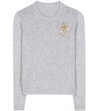 Miu Miu Crystal Embellished Cashmere Sweater Grey
