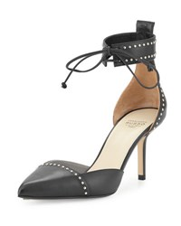 Francesco Russo Studded Leather Ankle Cuff D'orsay Pump Nero