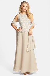 Women's J Kara Embellished Bodice A Line Chiffon Gown With Shawl