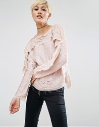 Asos Ruffle Sweat Top In Sequin Blush Pink