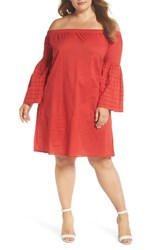 Glamorous Plus Size Crochet Sleeve Off The Shoulder Dress Red