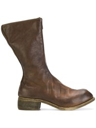 Guidi Front Zip Boots Goat Skin Leather Brown