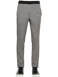 All Apologies Houndstooth Wool Blend Jacquard Pants White Black