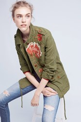 Anthropologie Embroidered Field Jacket Moss