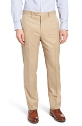 John W. Nordstrom Big And Tall Torino Traditional Fit Flat Front Solid Trousers Khaki