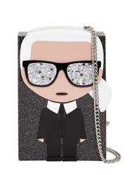 Karl Lagerfeld K Ikonik Glittered Box Clutch Black