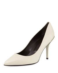 Roger Vivier Pointed Toe Leather Pump Ivory