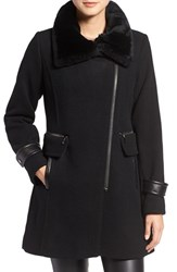 Trina Turk Women's 'Aubree' Wool Blend Coat With Detachable Genuine Shearling Trim Black
