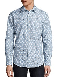 1...Like No Other Polka Dot Print Cotton Shirt Blue