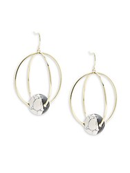 Noir Orbital Two Tone Stone Drop Earrings Gold Black