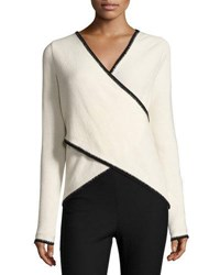Derek Lam Blanket Stitched Cross Front Sweater White Black White Black