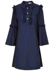 Vivetta Navy Hand Collar Ruffle Flared Dress