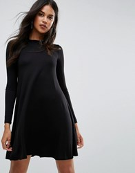 Boohoo Scoop Neck Long Sleeve Swing Dress Black