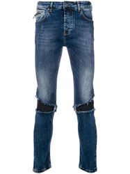 Frankie Morello Distressed Biker Panel Slim Fit Jeans Blue