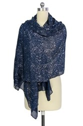 Saachi Navy Silver Water Drop Scarf Blue