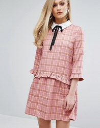 Sister Jane Smock Dress With Collar In Tartan Pink