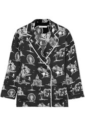 Maje Printed Satin Shirt Black