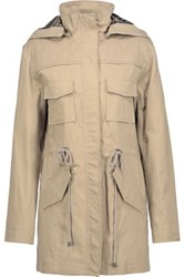 Alice Olivia Atticus Cotton Blend Hooded Jacket Sand