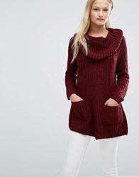 Qed London Cowl Neck Chunky Knit Jumper Wine Red