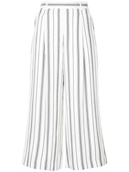 Loveless Stripe Print Cropped Trousers White