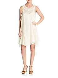 Haute Hippie Lace Embroidered Silk Chiffon Dress Antique Ivory