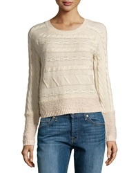 Design History Cable And Looped Knit Crop Sweater Canvas Heather