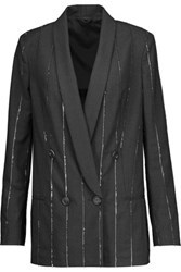 Brunello Cucinelli Double Breasted Sequined Wool Blend Jacket Anthracite