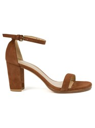 Stuart Weitzman Block Heel Sandals Brown
