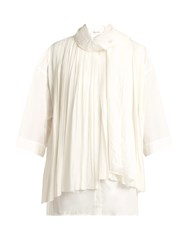 Christophe Lemaire Pleated Silk And Cotton Foulard Blouse White