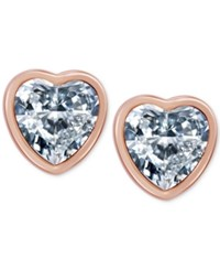T Tahari Rose Gold Tone Crystal Heart Stud Earrings