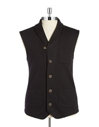 Black Brown Shawl Collar Vest Black