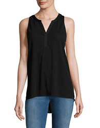 Lord And Taylor Pleated Back Shell Top Black