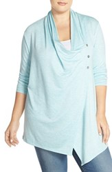 Plus Size Women's Sejour Terry Side Button Drape Neck Jacket Teal Bess Pattern