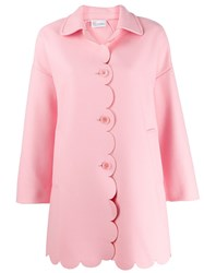 Red Valentino Scalloped Single Breasted Coat Pink