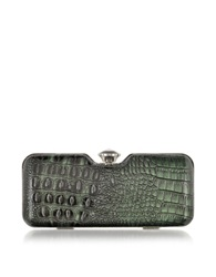 Julia Cocco' Mini Animal Print Clutch W Crystal Green