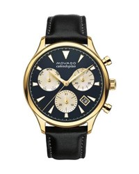 Movado Heritage Series Chronograph Watch Black Gold