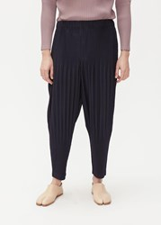 Homme Plisse Issey Miyake Basics Pleated Tapered Trouser Navy