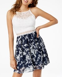 Amy Byer Bcx Juniors' Lace Chiffon Fit And Flare Dress Pat T Navy White